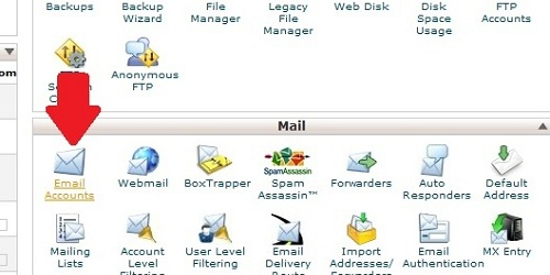 Find the email accounts icon